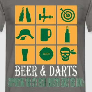 Darts - Beer and Darts supporting the eye patch  - Men's T-Shirt