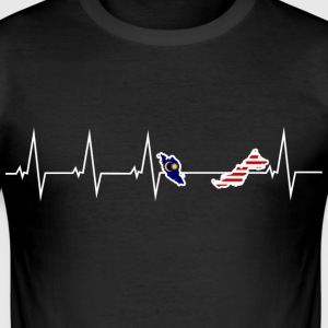 I love Malaysia Malaysia - heartbeat T-Shirts - Men's Slim Fit T-Shirt