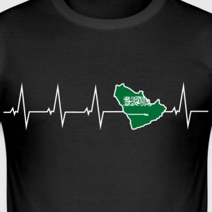 I love Saudi Arabia - heartbeat T-Shirts - Men's Slim Fit T-Shirt