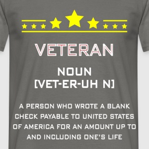 Veteran-Noun - Veteran noun a person who wrote a  - Men's T-Shirt