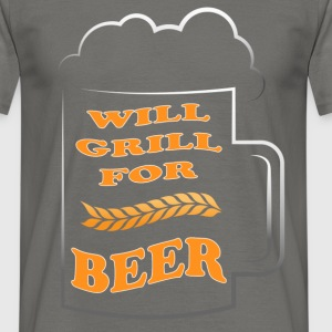 Grill - Will grill for beer - Men's T-Shirt