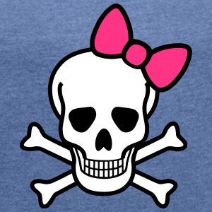 Skull & Bow T-Shirts - Women's T-shirt with rolled up sleeves
