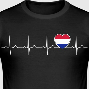 Netherlands flag heartbeat - nation - Holland T-Shirts - Men's Slim Fit T-Shirt