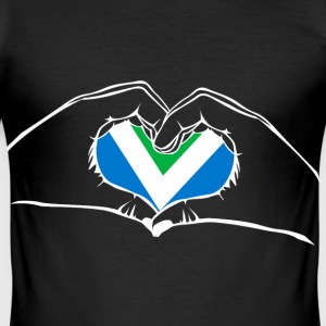 I love vegan - heart - hand T-Shirts - Men's Slim Fit T-Shirt