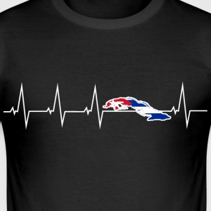 I love Cuba - heartbeat T-Shirts - Men's Slim Fit T-Shirt