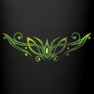 Filigree Tribal with gemstone. Watercolor, green.  Mugs & Drinkware - Full Colour Mug