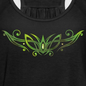 Filigree Tribal with gemstone. Watercolor, green.  Tops - Women's Tank Top by Bella