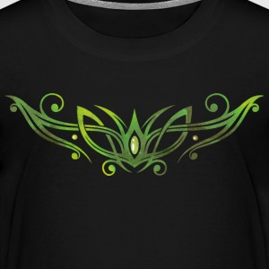 Tribal Ornament mit Edelstein. Watercolor, grün. T-Shirts - Kinder Premium T-Shirt