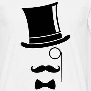 Funny Top Hat Monocle and Mustache - Men's T-Shirt