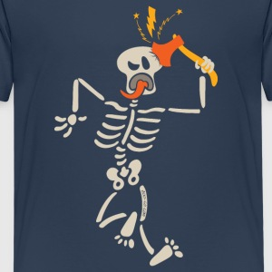 Skeleton striking and breaking own skull with axe Shirts - Teenage Premium T-Shirt