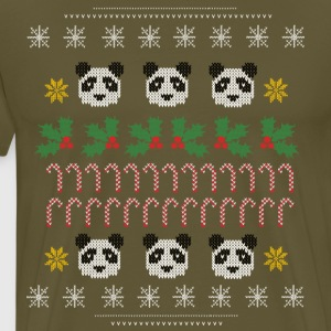 Ugly Christmas Pattern Panda  - Men's Premium T-Shirt