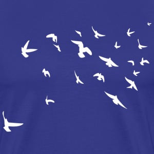 Flying Birds / White Print - Mannen Premium T-shirt