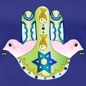 Jewish Chamsa with magen david and peace doves T-Shirts - Women's Premium T-Shirt