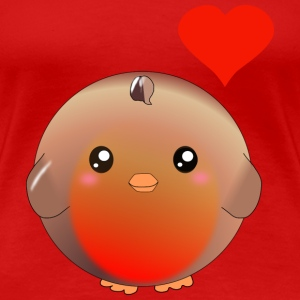 Cute Robin Bird and Heart T-Shirts - Women's Premium T-Shirt