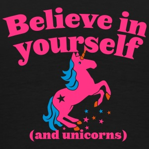 Believe in yourself (and UNICORNS) plain Bags & Backpacks - Men's Premium T-Shirt
