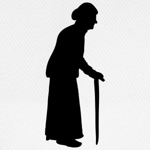 Old granny with a walking stick cane T-Shirts - Baseball Cap