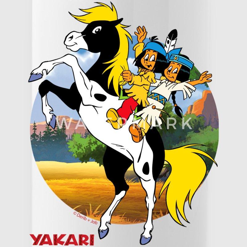yakari und regenbogen auf kleiner donner trinkflas flasche spreadshirt. Black Bedroom Furniture Sets. Home Design Ideas