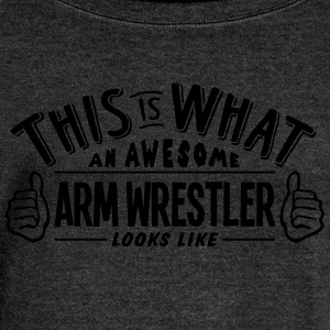 awesome arm wrestler looks like pro desi - Women's Boat Neck Long Sleeve Top