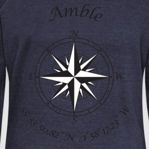 Amble, Northumberland   Compass (black) T-Shirts - Women's Boat Neck Long Sleeve Top