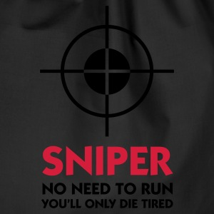 Svart Sniper - No need to run (2c) Tröjor - Gymnastikpåse