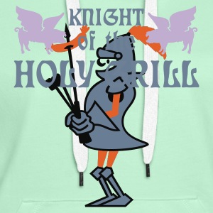 Mosgroen Knight of the holy grill (Txt, 2c) T-shirts - Vrouwen Premium hoodie