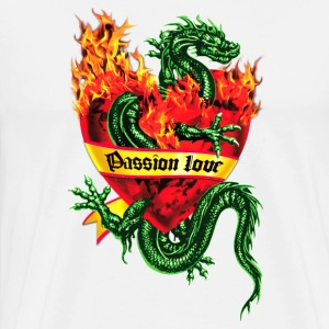 Passion Love - Tatoo Drache / Herz Flammen / Dragon in the Fire Heart Tattoo Männer Kapuzenpullover - Männer Premium T-Shirt