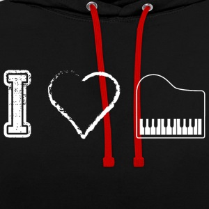 I love piano piano - Contrast Colour Hoodie