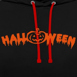 Halloween lettering with pumpkin - Contrast Colour Hoodie