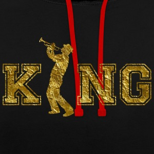 Trumpet King King gift - Contrast Colour Hoodie