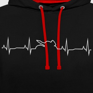 Motorcycle heart rate - Contrast Colour Hoodie