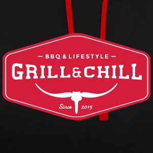 Grill and Chill / BBQ and Lifestyle Origin Logo - Kontrast-Hoodie