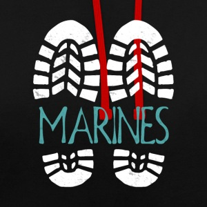 Marines. Color choice. Add your text - Contrast Colour Hoodie