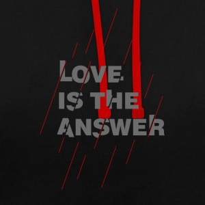LOVE IS THE ANSWER 2 - Felpa con cappuccio bicromatica
