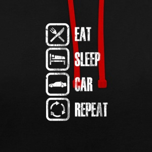 Eat Sleep AUTO REPEAT - Felpa con cappuccio bicromatica