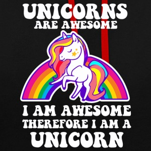 Unicorns are Awesome - Funny Unicorn Design - Contrast Colour Hoodie