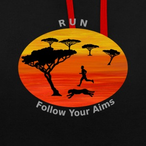 Run Follow your aims, Afrika - Kontrast-Hoodie