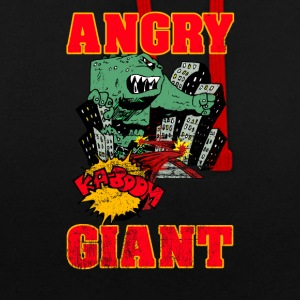 Vintage Angry Giant Cartoon Style - Contrast Colour Hoodie