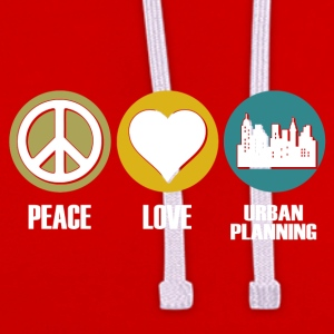peace love urban planning - Kontrast-Hoodie