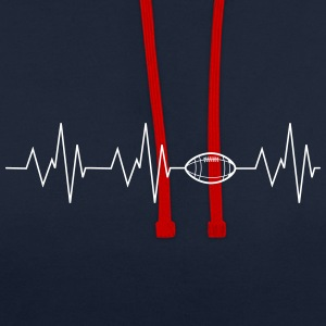 Heartbeat Football - Contrast Colour Hoodie