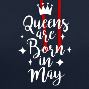 Queens are born in May - Contrast Colour Hoodie