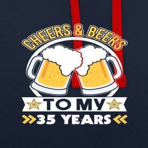 Cheers & Beers 35th birthday - Contrast Colour Hoodie