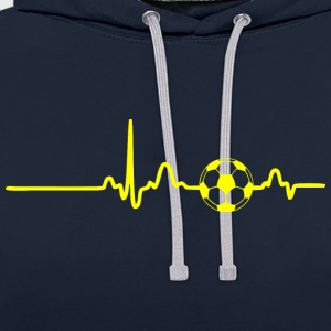 ECG HEART LINE SOCCER yellow - Contrast Colour Hoodie