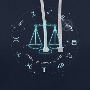 Libra Zodiac Horoscope October glowing star - Contrast Colour Hoodie