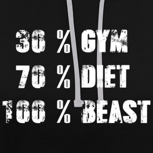 30% GYMNASE - 70% DIET - 100% BEAST - Sweat-shirt contraste