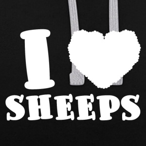 Sheep / Farm: I Love Sheeps - Contrast Colour Hoodie