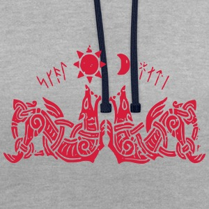 Geri and Freki Wolves of Odin - Contrast Colour Hoodie