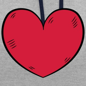 Heart love - Contrast Colour Hoodie