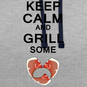 keep calm and grill some steaks differently - Contrast Colour Hoodie