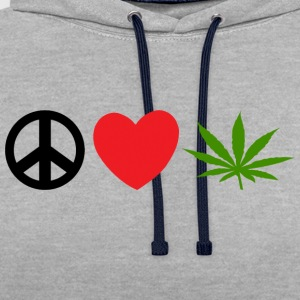 Peace Love Marijuana Cannabis Weed Pot - Kontrastluvtröja
