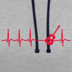 Heart beat guitar teacher player band gift - Contrast Colour Hoodie
